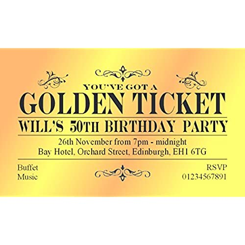 60th birthday party invitations amazon 50 birthday invitations personalised for you magnetic golden ticket invites for 18th 21st 30th 40th 50th 60th 70th birthday party invitations filmwisefo Images