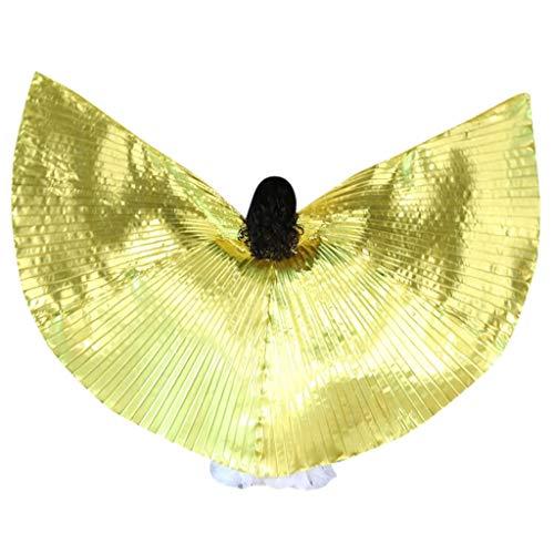 Gothic Fairy Prinzessin Kostüm - Chejarity Kinder Bauchtänzerin Flügel Wings Dance Fairy Feen Prinzessin Kostüm Schmetterling Stützen mit Stöcke Bühnenauftritte Halloween Karneval Cosplay Party Fasching Kleidung (120CM, Gold)