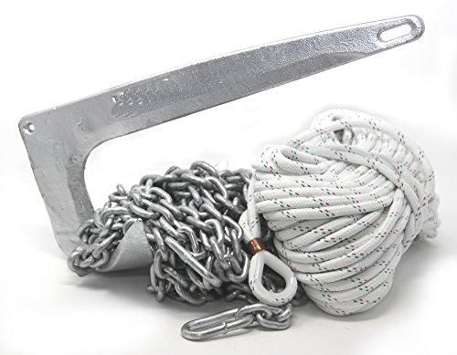 M-Anker-Bruce 7,5 kg Stahl feuerverzinkt + Ankerkettenvorlauf + Niroschäkel + 30 Meter Ankerleine Ø 8 mm
