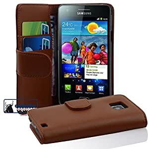 Cadorabo ! Book Style wallet case (PREMIUM) for Samsung Galaxy S2 (I9100) in SADDLE-BROWN