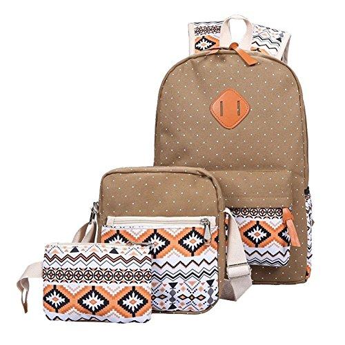 YiLianDa Tela Zaino Scuola Canvas Backpack Casual Ragazza Zaini Vintage Sacchetto di spalla Messenger Borse 3PCS set Marrone