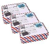 3 Stück DIY Design Blechdose Metalldose mit Deckel Nostalgie Retro Motiv Post Brief ca. 10x7x3 cm