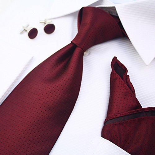 GENTLEE TIE Los hombres corbata high-end de hombres Trajes de negocios regalos de boda kit de sujeción de 8.5CM, rojo oscuro (Hotel Regal-kit)
