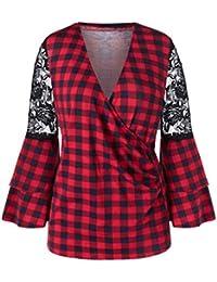 Luckycat Camisa Cuadros Encaje Manga Larga con Cuello en V para Mujer Blusa Suelta Top túnica