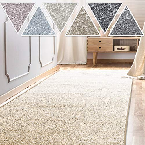casa pura Teppich Läufer Sundae | Meterware | Teppichläufer für Wohnzimmer, Flur, Küche usw. | kuschlig weich | mit Stufenmatten kombinierbar (Creme - 66x200 cm)