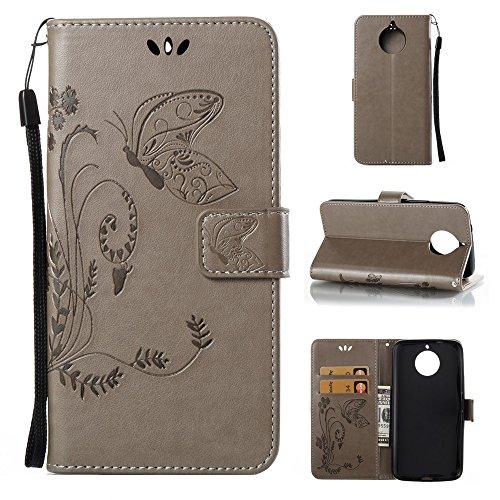 EKINHUI Case Cover Horizontale Folio Flip Stand Muster PU Leder Geldbörse Tasche Tasche mit geprägten Blumen & Lanyard & Card Slots für Motorola MOTO G6 Plus ( Color : Brown ) Gray
