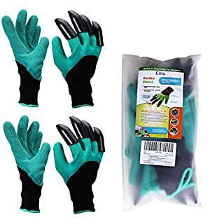 Eiito X 2 Genie (Women's 2 Pairs), Garddening Easy to Dig and Garden Glove with Claws Plant Safe for Rose Pruning, Small/Medium Size 6-7