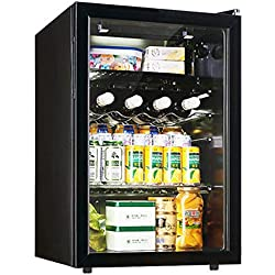 Mini Réfrigérateur Noir, Portable 80L La Bière Le Vin Boissons Frigo Lumière LED Petit Frigo convient Pour Voiture Dortoir Bar Bureau-Noir