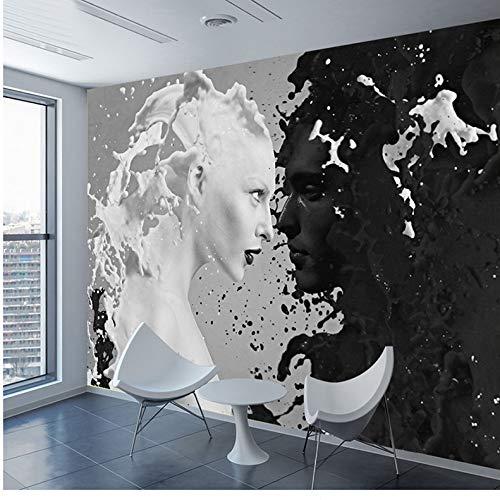 Benutzerdefinierte Schwarz Weiß Milch Liebhaber Fototapeten Für Wand 3 D Wohnzimmer Schlafzimmer Shop Bar Café Wände Wandbilder Rolle Papel De Parede Möbeldekoration (W)400x(H)280cm -