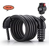 Candado de Bicicleta, Foneso Cable Flexible de Seguridad PVC Mate, Candado Conveniente de Combinación, Longitud 1.5M Color Negro.