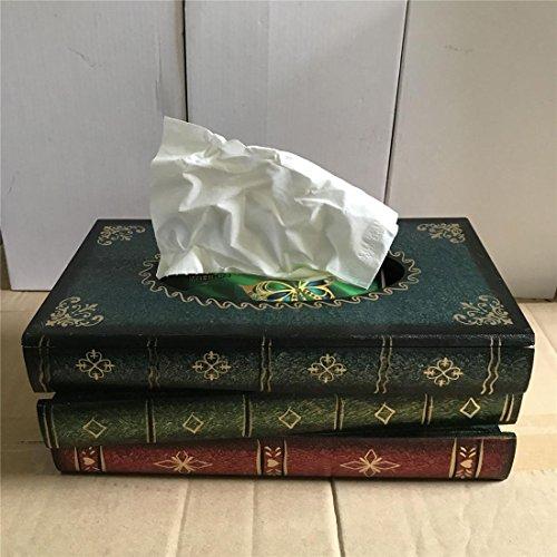 ZSY Home Kleenex Halter Kreativ Holz Buch Gestalten Gewebe Box - Kleenex Abdeckung Zum Aufrecht Kleenex Boutique Gewebe, Blau -