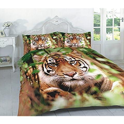 Pet Animal Print–Juego de funda de edredón con fundas de almohada juego de cama solo doble King Super King, tigre, matrimonio