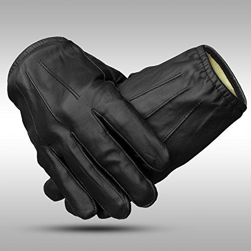Guantes de motociclista de piel auténtica para hombres, de Foxter, guantes de conducción resistentes, con corte y con kevlar, guantes para policía, de invierno, trabajo, Large