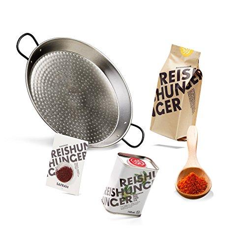 Reishunger Paella Starter Set - Grill Set für echte spanische Paella-Feste, 5-teilig für 4 Personen mit Paellera und Paella Reis [in 3 Größen erhältlich]