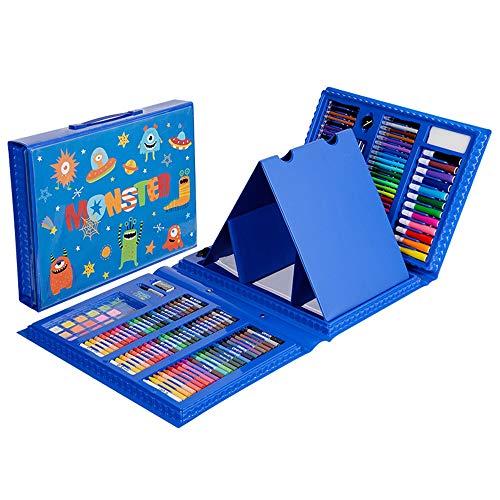 Deluxe Organizer Kurze Tasche (ZXYWW Kinder Zeichnung Set Geschenkbox, 176-Piece Double Sided Trifold Staffelei Art Set Malwerkzeuge, Aquarellpinsel, Art Supplies,Blue)