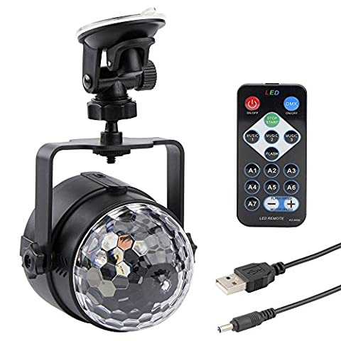 DJ Light Disco Sound Actived Party Lights RGB 7 Color Changes with Remote Controller and USB Disk For DJ Disco House Party Hotel Stage Office Camping Field Crystal Magic Ball Stage Lights Rotating