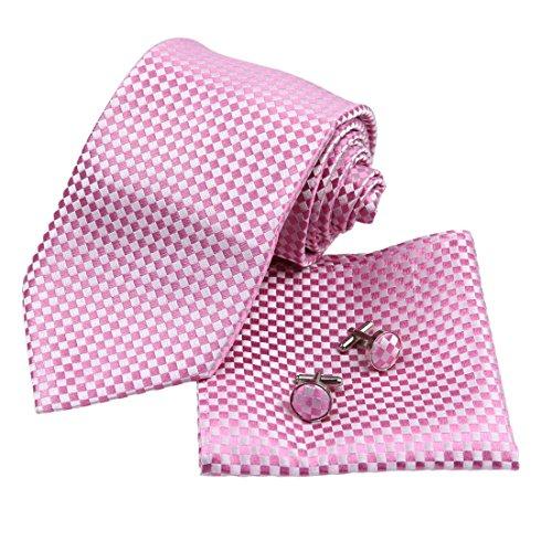 H6053 Rosa Kariert Wholesale For Boss Seide Krawattes Manschettenkn?pfe Taschentuch Groom Geschenks Set 3PT Von Y&G