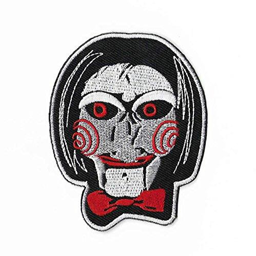 (MemelBurg Saw Billy The Puppet Patch (3,5 Zoll) DIY bestickt Eisen oder auf Abzeichen Applique Horror Film Souvenir Jigsaw Kramer Serie Kostüm nähen)
