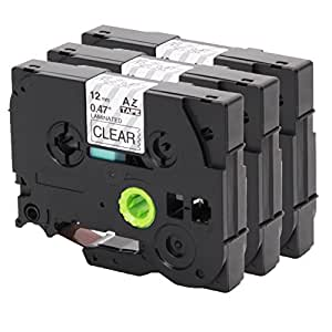 3x Ruban Cassette pour Brother TZe- 131 12mm noir sur clair 12mm de largeur x longueur de 8m compatible avec Tze- 131 par exemple P-Touch 1000W