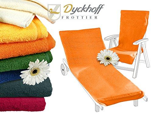 Schonbezug mit Kapuze aus dem Hause Dyckhoff - erhältlich in 7 sommerlichen Farben für Gartenstuhl oder Gartenliege, Gartenliege, orange