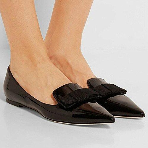 ELASHE - Femmes - Ballerines - Bout Pointu Chaussures - nœud à deux boucles - Classiques - chaussures plates Noir