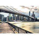 Vlies Fototapete 350x245 cm PREMIUM PLUS HiQ - OEKO-TEX Standard 100 Foto Tapete Wand Bild Vliestapete - NEW YORK BROOKLYN BRIDGE SKYLINE - New York USA Skyline Sephia Brooklyn NYC - no. 0043