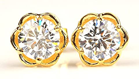 14KT YELLOW GOLD 5.20 CARATS ROUND SHAPE MAN-MADE/SIMULATED DIAMOND SOLITAIRE WOMEN'S EARRINGS