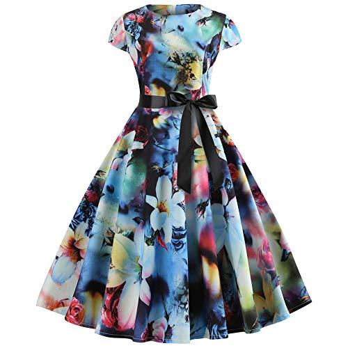 (Kleider Damen MYMYG 1950er Vintage Retro Brautjungfernkleid Petticoat Lange Ärmel Ballkleid Hepburn Cocktailkleid Rockabilly Abend Druck Party Prom Swing Kleid(A10-Blau,EU:38/CN-L))