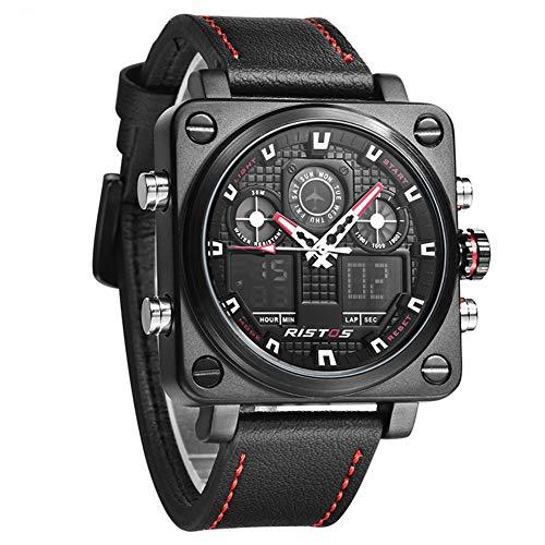 SW Watches RISTOS Sportplatz LED Uhren Mehrere Zeitzonen Männer Digitaluhr Top-Marken-Luxus Armee-Echtes Leder-Quarz-Armbanduhr