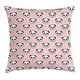 GHNYK Panda Throw Pillow Cushion Cover, Big Bear Cats in Love Southern China Fauna Portraits with Little Hearts, Decorative Square Accent Pillow Case, 18 X 18 inches, Pale Pink Black White