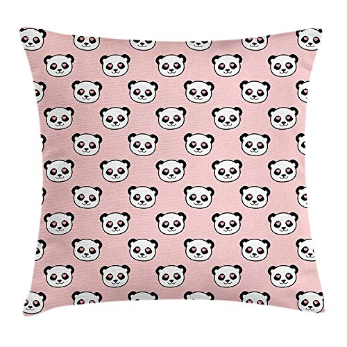 Panda Throw Pillow Cushion Cover, Big Bear Cats in Love Southern China Fauna Portraits with Little Hearts, Decorative Square Accent Pillow Case, 18 X 18 inches, Pale Pink Black White