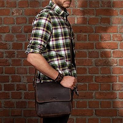 SID & VAIN® sac à bandoulière HARDY unisexe - grand sac en cuir avec sangle style Vintage - sacoche homme et femme marron en cuir véritable
