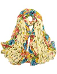 JTC Multi Women Ladies Floral Voile Scarf Shawl Wrap Stoles Long Pashmina Scarves