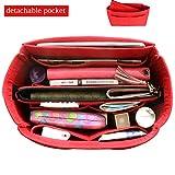 HyFanStr Bag in Bag Organisateur de sac a main feutre sac de rangement Intérieur organisateur de voyage (Rouge, M)