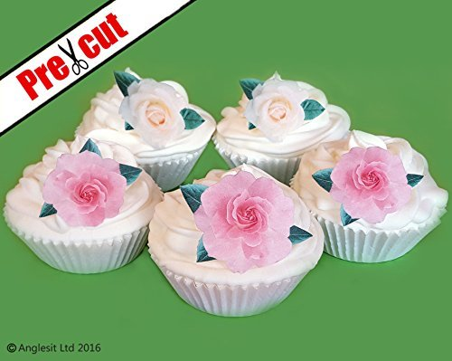 PRE CUT FLAT PINK WHITE ROSES FLOWERS M1 EDIBLE RICE WAFER PAPER CUP
