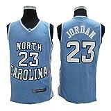 ATI nice Michael Jordan # 23 università della Carolina del Nord (UNC) Maglie da Basket da Uomo Uniforme da Basket retrò Gilet Senza Maniche in Tessuto Traspirante,Blu,XL:185cm~190cm