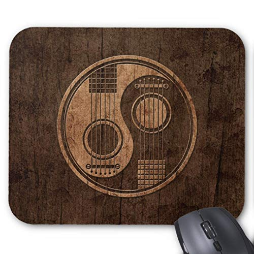 GBZ Mauspad für Computer, Laptop, Akustikgitarre, Yin Yang mit Holzmaserung-Effekt