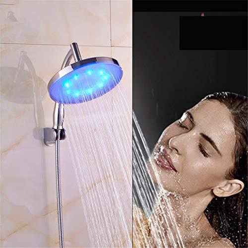 HS-Showen 8 Zoll Niederschlag LED-Licht Duschkopf Badezimmer Duschkopf Chrom Runde Hand Duscharm Mit Halterung Und Schlauch -