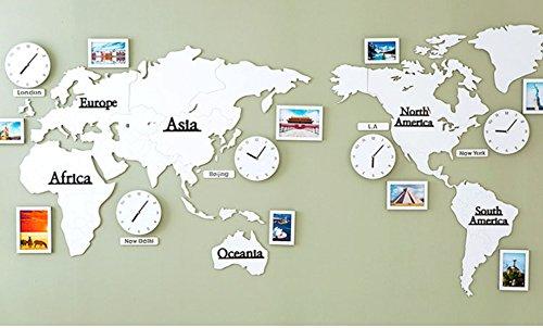 XGURD Europäische Uhr Wanduhr Weltkarte Wanduhr Uhr Foto Wand Wanduhr Wohnzimmer Sofa Wanddekoration Quarzuhr Handwerk,White-OneSize Datum Und Uhrzeit-wand-uhr
