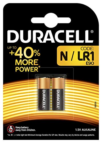 Duracell E90/LR1 Specialty N Alkaline Batterie 1,5V (entwickelt für die Verwendung in Taschenlampen, Taschenrechnern und Fahrradlichtern) 2er-Packung Duracell Alkaline-batterie