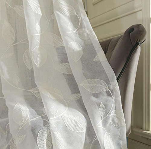 Tende di tulle ricamato di lino bianco, in stile moderno, per il salotto, la cucina, con design floreale, tende a pannello, Tessuto, hooks top, 1pc(300x270cm)