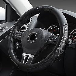 FLKAYJM Universal Auto Lenkradhülle aus Mikrofaser-Leder, Universal Passend 37-39CM / 15'', Atmungsaktiv, Anti Rutsch, Lenkradschutz für Auto Zubehör - Schwarz