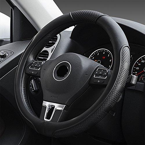 FLKAYJM Universal Auto Lenkradhülle aus Mikrofaser-Leder, Universal Passend 37-39CM / 15\'\', Atmungsaktiv, Anti Rutsch, Lenkradschutz für Auto Zubehör - Schwarz