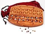 HUS BAO aus Samena-Holz - mit Edelsteinen und asiatischem Aufbewahrungssack für das SPIEL - Halbedelsteinspiel Edelsteinspiel Steinchenspiel Kalaha