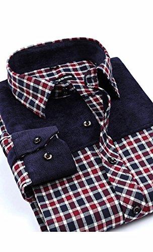 Awake Herren Langärmliges kariertes Flanellhemd mit Button-Down-Effekt (Schlank Plaid Und Groß Robe)