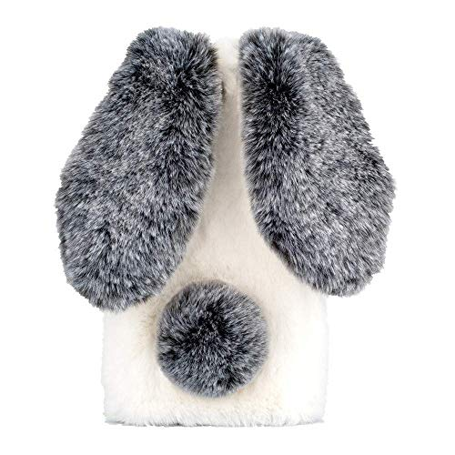 Awenroy Hase Pelz Handyhülle für Sony Xperia L2 [ 3D Flauschiges Kaninchen ] Weicher und bequemer Plüschbezug Spaß Luxus und schön Stoßfeste Hülle für Sony Xperia L2 - Schwarz und Weiß