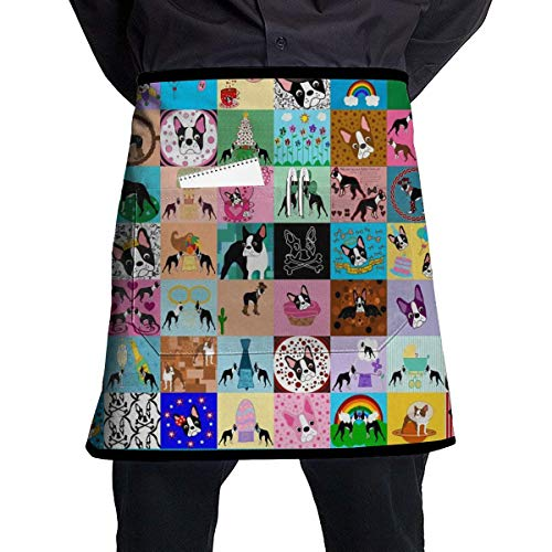 MSGDF Crazy Faux Boston Terrier Waist Apron Server Apron with Pockets Commercial Restaurant Waitress Waiter Waterproof Kitchen Apron for Men Women Half Bistro Aprons Boston Server