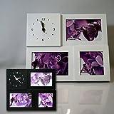 Marco de fotos marco de fotos con fotos de marco de fotos de diseño de Family con diseño de reloj de pared colour blanco y negro de la imagen, negro