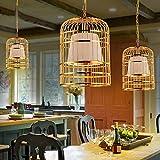 CTO Beleuchtung Kronleuchter Eisen Vogelkäfig von Weinbar Nordic Restaurant Einfache Bekleidungsgeschäft Kronleuchter A ++ (Farbe Gold + Rot des Schattens,Gold + weißer Schatten