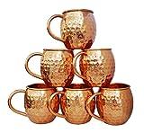 Zap Impex Reines Kupfer Moscow Mule Fass Tasse, Keine Beschichtung, gehämmerten Kupfer, Ideal für Alle gekühlten Getränk Blendend zu Unterhalten und Bar Oder zu Hause, große Bar Geschenk-Set von 6